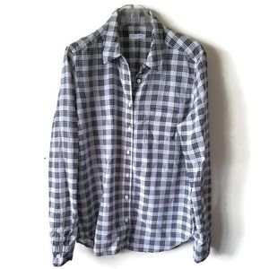 Equipment Silk Blouse Shirt Plaid White sz L